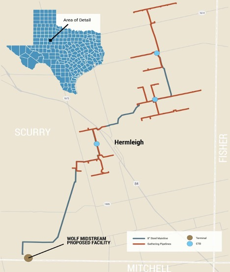 Wolf Midstream and Cowboy Midstream Assets Map